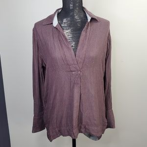 Free People Lined Distressed Split Neck Longsleeve